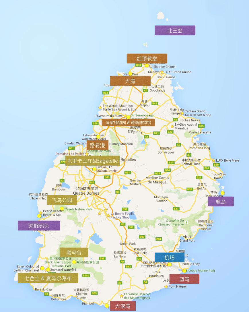 毛里求斯旅游地图